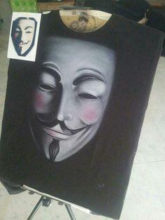 V de Vendetta airbrush t-shirt, aerografia camiseta