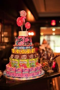 Beautiful Birthday Cakes That You Can Recreate Candy cakes. Fun idea for party favors. also a cute gift for candy nuts like meCandy cakes. Fun idea for party favors. also a cute gift for candy nuts like me Candy Cakes, Cupcake Cakes, Bar A Bonbon, Sweet 16 Parties, Sweet 16 Party Favors, Candy Bouquet, Slumber Parties, Slumber Party Decorations, Mouse Parties