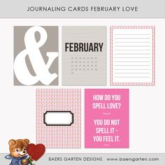 Free February Love Journal Cards from Baers Garten
