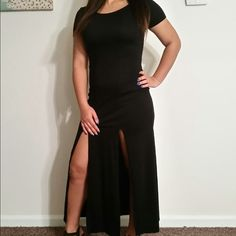 """Long Black Dress Lightly Worn! 2 splits in the front. Fitted but not too tight fitting and comfortable! Im 5""""6 and comes to my feet Dresses"""