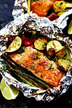 Grilled Lime Butter Salmon in Foil with Summer Veggies   No cleanup? We're in. Get dinner on the table in a flash with almost zero cleanup thanks to these nifty foil pack recipe ideas. Start with a protein like chicken or fish. Next, choose a starch. Many of these recipes use potatoes, rice, or even pasta. You'll want to give the rice and pasta a head start by beginning the cooking process before adding to the foil. Each recipe should have instructions on any precooking necessary.