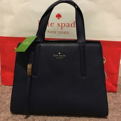 """Kate Spade dominique satchel Kate Spade. Dominique grey street in french navy. Dimension 11.5"""" W 9"""" H 6"""" D. Includes long strap. Color is a dark navy blue. Price is firm kate spade Bags Satchels"""