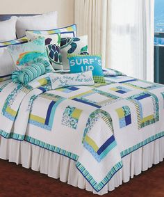 Loving this Cyan Squares Quilt on #zulily! #zulilyfinds