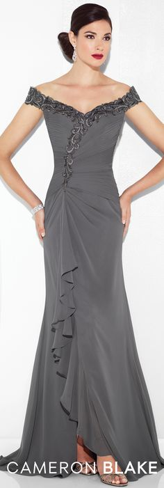 Formal Evening Gowns by Mon Cheri - Spring 2017 - Style No. 117602 -pewter off-the-shoulder chiffon evening dress