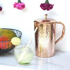 Inspired by Savannah: Support the Environment While Making Your Kitchen Shine with the Copper Water Pitcher from Shantiva -- For a Limited Time Take 45% off All Pitchers! (Review) Benefits Of Drinking Water, Reap The Benefits, Lemon Benefits, Health Benefits, Health Tips, Copper Vessel, Pure Copper, Hammered Copper, Water Pitchers