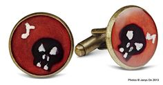 Handpainted cufflinks in resin by janysde.com. From the #jazzskull line