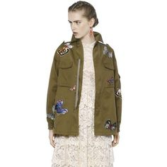 VALENTINO Butterfly Embellished Cotton Jacket - Military Green