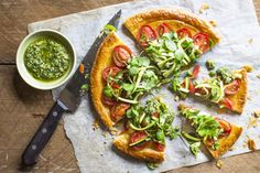 Tomato and zucchini tart with pesto recipe, Bite – This tart makes delicious lunch dish ampmdash serve with cheeses or sliced cold meats and a green salad - Eat Well (formerly Bite) Zucchini Tart, Vegetable Tart, Pesto Recipe, Yummy Food, Yummy Recipes, Vegan Recipes, Smoothie Recipes, Vegetarian, Dishes