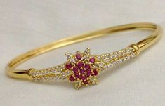 1.35CT NATURAL ROUND DIAMOND RUBY GEMSTONE 14K SOLID YELLOW GOLD BRACELET  #Unbranded #Bangle