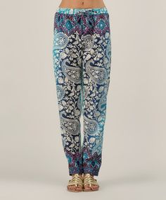 Look what I found on #zulily! Blue & White Paisley Straight-Leg Pants by Kushi by Jasko #zulilyfinds