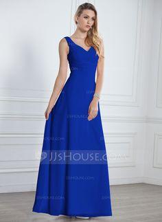 888c11624d815 A-Line/Princess V-neck Floor-Length Ruffle Zipper Up Regular Straps  Sleeveless No Blushing Pink Spring General Plus Chiffon Bridesmaid Dress