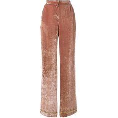 Alberta Ferretti velvet palazzo pants ($620) ❤ liked on Polyvore featuring pants, pocket pants, palazzo trousers, elastic waist wide leg pants, velvet pants and stretch waist pants