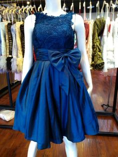 Navy blue lace bridesmaid dress in knee length by AFairyland