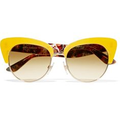 Dolce & Gabbana Cat-eye gold-tone and acetate sunglasses (1.060 BRL) ❤ liked on Polyvore featuring accessories, eyewear, sunglasses, glasses, yellow, dolce gabbana eyewear, dolce gabbana glasses, yellow glasses, uv protection sunglasses and heart shaped glasses