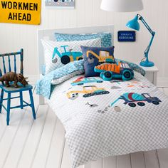 Adairs Kids Boys Danny's Digger - Bedroom Quilt Covers & Coverlets - Adairs Kids