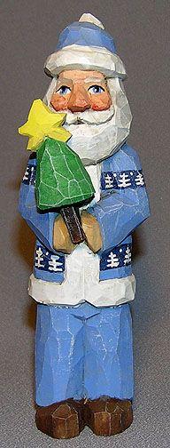 Blue Santa Holding Small Tree - $39.00