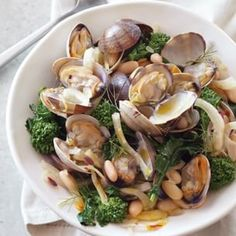 Clams with white beans, fennel, and broccoli rabe
