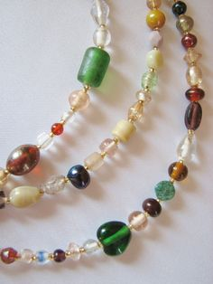 Multicolored Pressed Glass Beaded Eyeglass Chain by nonie615, $10.00