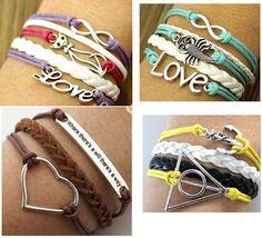 4pcs Anchor Bracelet Leather Bracelet Silver Cat Bracelet Handmade Bracelet T2 | eBay