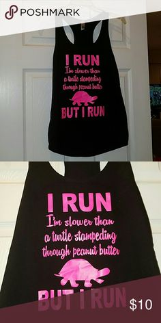"Women's Funny running tank top ""I run. I'm slower than a turtle stampeding through peanut butter...but I run"" blk/hot pink tank. Sz L Tops Tank Tops"