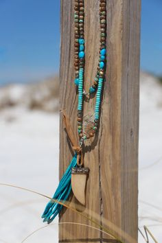 Boho Horn Tusk Necklace Leather Tassel by HappyGoLuckyJewels