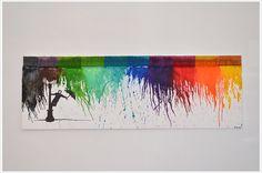 """Malen mit Wachsmalstiften ist out, jetzt kommt CRAYON MELTING! <br />Mit dieser Technik kann man buchstäblich fließende Motive auf die Leinwand bringen. Und da ich viel lieber Bilder """"kreiere"""" als male, musste ich diese Methode unbedingt ausprobieren ..."""