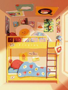 Ssebong Kim on Behance Love Illustration, Digital Illustration, Kawaii Wallpaper, Cute Cartoon Wallpapers, Illustrations And Posters, Aesthetic Art, Easy Drawings, Cute Art, Character Design