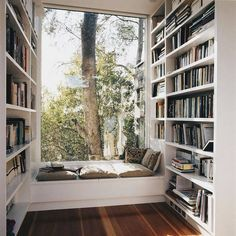 Home Library DesignYou can find Reading corners and more on our website.Home Library Design Home Library Design, Home Interior Design, House Design, Library Ideas, Library Organization, Library In Home, Library Corner, Corner Nook, Corner Storage