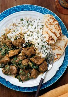 Lamb saag Making this tomorrow (in my shiny new crockpot :) with pork loin medallions instead of lamb, adding a few more Indian appropriate veggies and jasmine rice. It shall be delicious I tell you! Crockpot Lamb, Crock Pot Slow Cooker, Slow Cooker Recipes, Crockpot Recipes, Cooking Recipes, Healthy Recipes, Curry Crockpot, Slow Cooking, Lamb Recipes