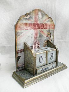 """Вечный календарь """"Туманный Лондон"""" в каталоге Для дома на Uniqhand - Винтаж, декупаж, санки, дерево"""