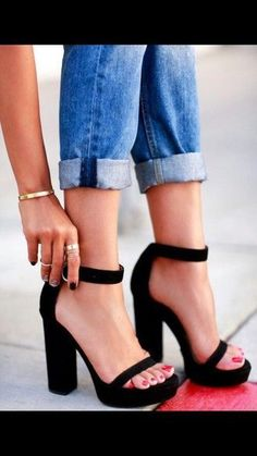 shoes sandals bracelets ring jeans jewels #blackhighheelssandals