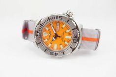 Seiko Monster, Nato Strap, Orange Fashion, Seiko Watches, Color Stripes, Bracelet Watch, Hardware, Monsters, Watch Straps