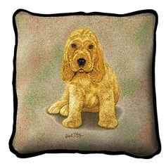 Cocker Spaniel Puppy Art Tapestry Pillow