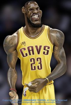 LeBron James by Armagan Yuksel Cartoon Faces, Funny Faces, Cartoon Drawings, Cartoon Art, Cartoon People, Cartoon Characters, Basketball Drawings, Basketball Art, Basketball Players