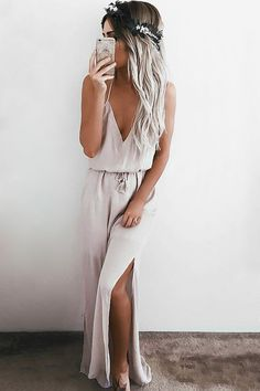 Expect some fan mail after you spend a day in the Crush and Croon Light Taupe Embroidered Maxi Dress! Embroidery decorates a darted, triangle bodice with an array of back straps. Loose silhouette is cinched by a tasseled waist sash above a woven maxi skirt with twin side slits. As Seen On Emily of @emilyrosehannon!