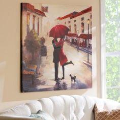 A customer favorite: Red Umbrella Couple Canvas Art Print  #kirklands #SpringisintheAir