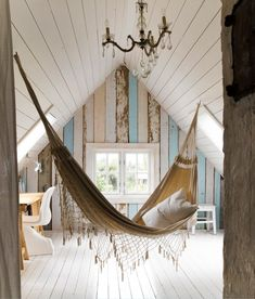 A Hammock for a bed in this attic space √
