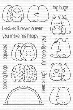 Clearly Besotted HAPPY HUGS Clear Stamp Set zoom image