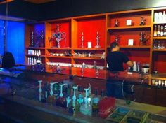 Oasis Cafe: Hookah lounge and bar -- nice example of the cool and warm colors blended.