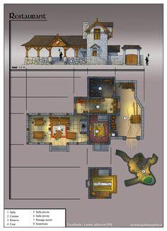 "Au lendemain : mission ""survie en Village"" restaurant - The Best of Minecraft Skins, Buildings and Houses Fantasy City, Fantasy Map, Fantasy Places, Medieval Fantasy, Construction Minecraft, Rpg Map, Building Map, Map Layout, Minecraft Blueprints"