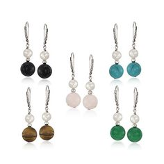 Set of Five Multi-Stone and Pearl Earrings in Sterling Silver | #782596 @ ross-simons.com