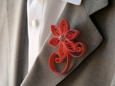 Bright Coral Boutonniere Coral Flower Wedding by MiaettiaCreations, $16.00