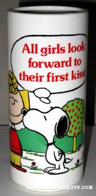"""Snoopy kissing Sally """"All girls look forward to their first kiss"""" Vase"""