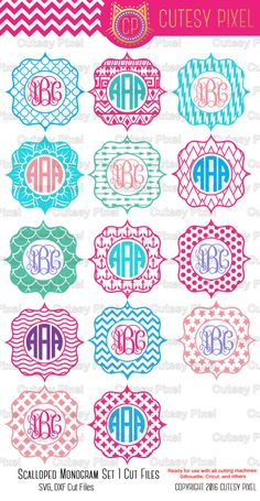 Scalloped Designs ,Monogram Frames ,Svg cutting file, tags Designs ,SVG, DXF, Cricut Design Space, Silhouette Studio,Digital Cut Files by CutesyPixel on Etsy