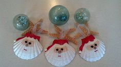 Santa Seashell Christmas Ornament -Beach Decor - Nautical Holiday Ornament by CathysCoastCreations on Etsy https://www.etsy.com/listing/164303689/santa-seashell-christmas-ornament-beach