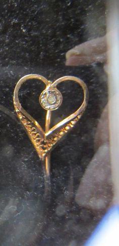 l4K Open Heart Stick Pin w Open Weave by JewelsOfHighElegance, $50.00