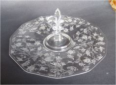 1930s Chintz Etched Fostoria Glass Cake or Sandwich Server Fleur de Lis Handle to Carry