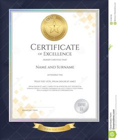Illustration about Elegant portrait certificate template for excellence, achievement, appreciation or completion on blue border background. Illustration of elements, coupon, blank - 81994790 Certificate Design Template, Center Pieces, Appreciation, Graduation, Coupon, Elegant, Portrait, Illustration, Blue