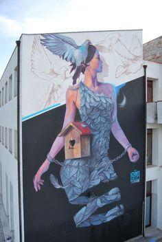 """Nasimo """" Demetra"""" per Willoke urban art fest, april 2017 , Monteleone di Puglia Italy"""
