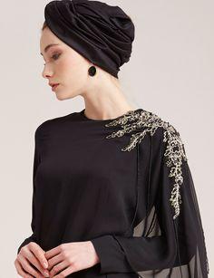 Omzu İşlemeli Şifon Elbise Siyah B7 23016 | Kayra Online